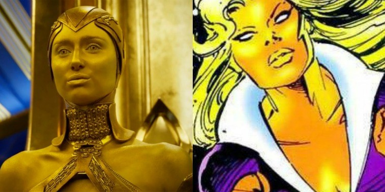 Elizabeth Debicki as Ayesha in Guardians of the Galaxy Vol. 2 and Ayesha in the comics