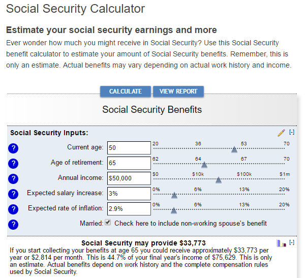 Bankrate's Social Security Calculator