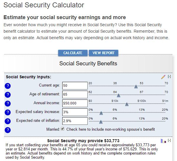 Bankrate's Social Security Calculator