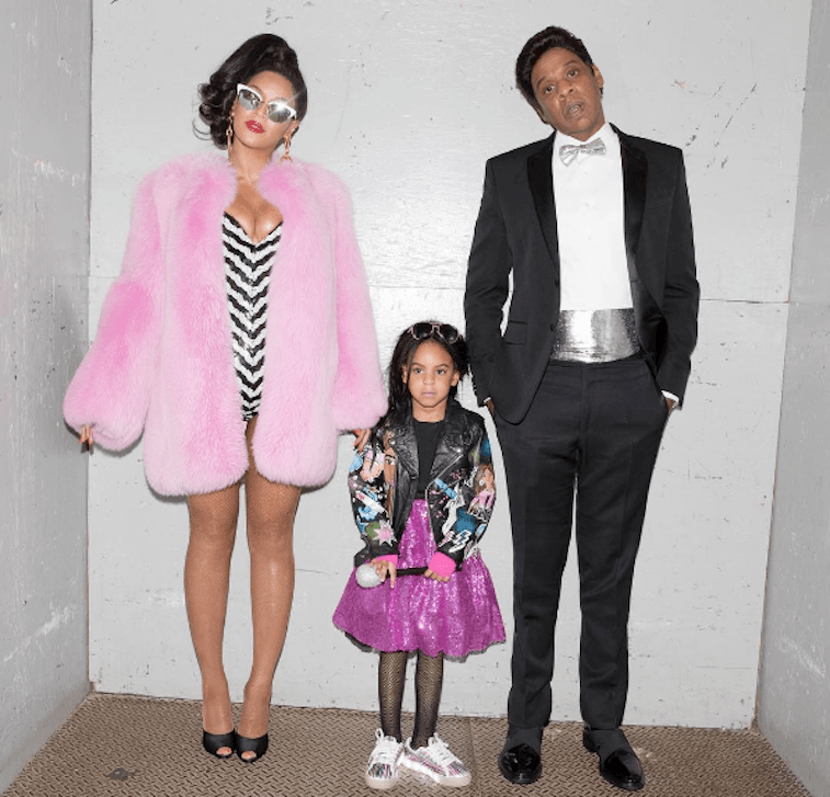 Beyoncé, Blue, and Jay-Z in costume