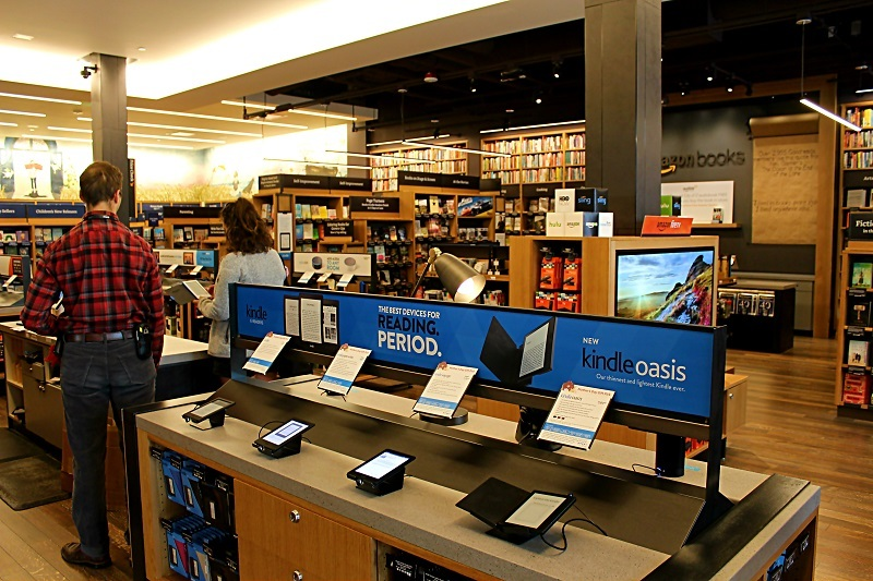 Kindles and Amazon Fire products on display
