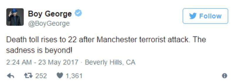 """This is a screen shot of Boy George tweeting """"Death toll rises to 22 after Manchester terrorist attack. The sadness is beyond!"""""""