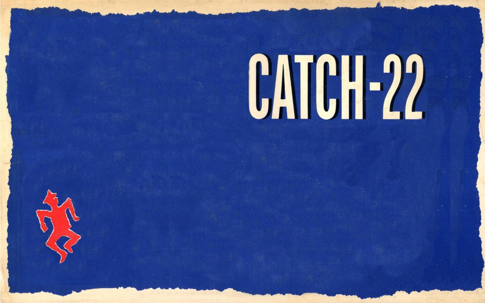 Cover art for Catch 22, set to a blue background and a red dancing stick figure