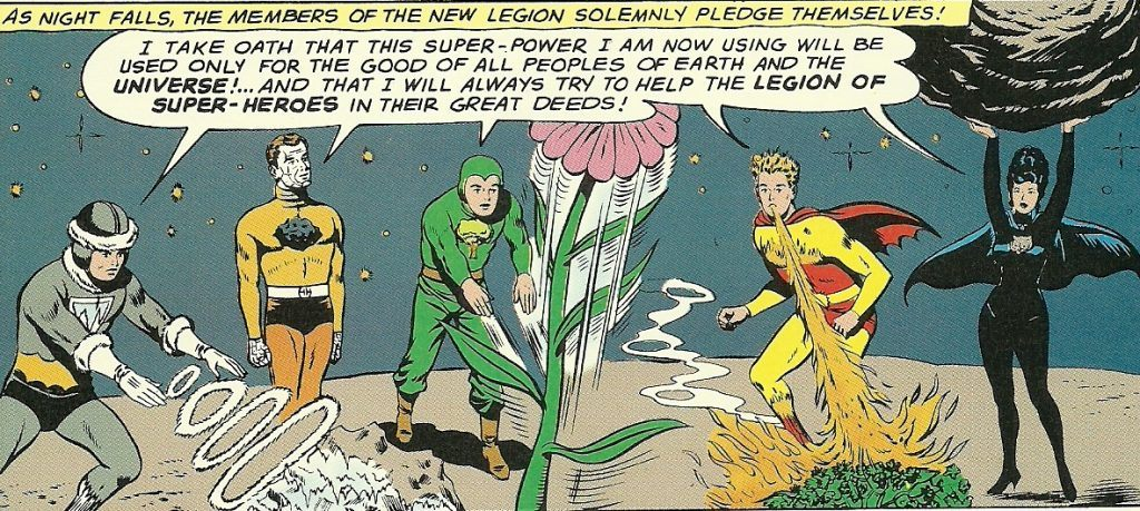 Chlorophyll Kid (center) and four other heroes in the Legion of Substitute Heroes work their powers