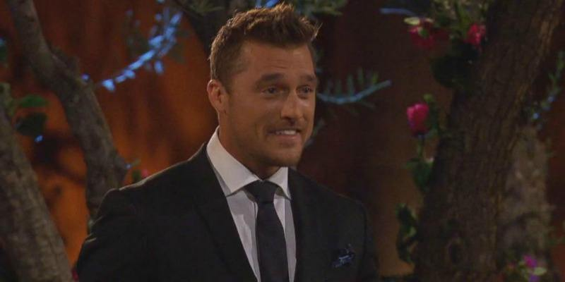 Chris Soules is smiling on the first night of The Bachelor.