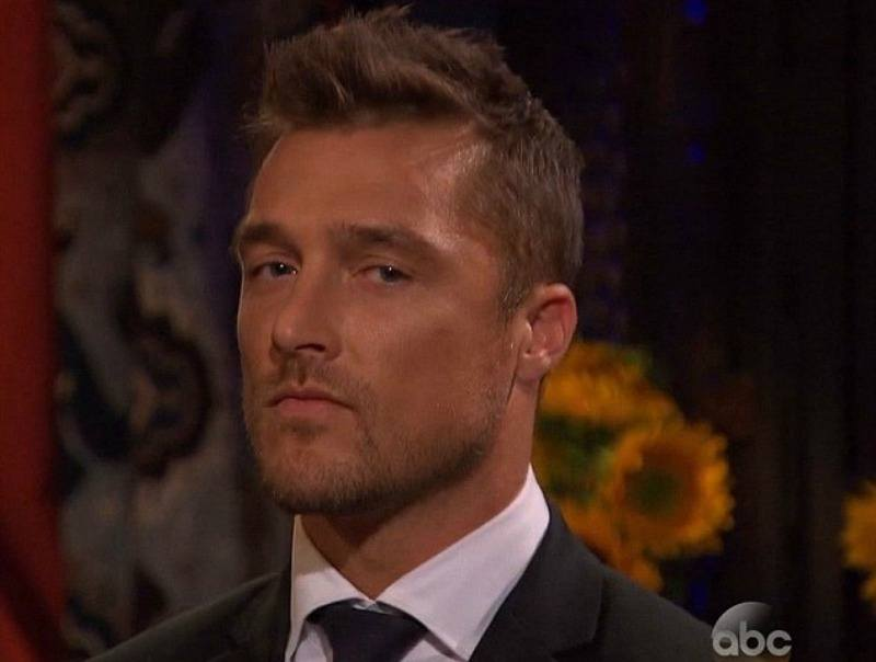 Chris Soules is wearing a black suit and is looking serious.