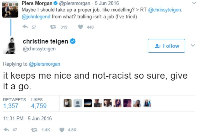 "Chrissy Teigen tweets ""it keeps me nice and not-racist so sure, give it a go."""