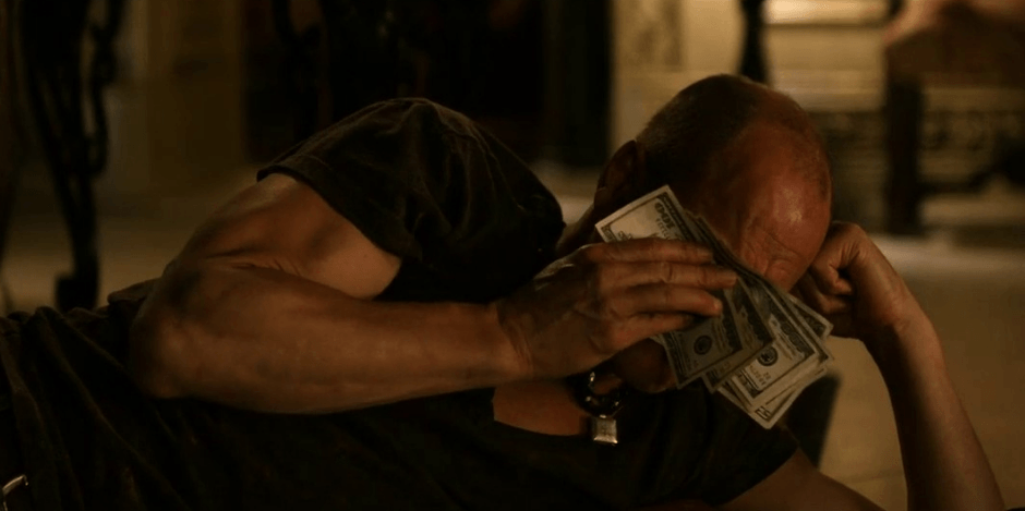 Woody Harrelson uses his newfound wealth and status post-apocalypse to comfort himself