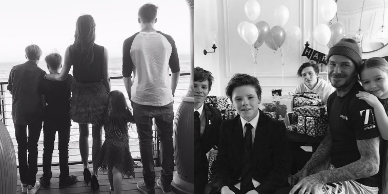 On the left is a black-and-white photo of the back of Victoria Beckham and her four kids standing together and on the right is David Beckham with his kids posing around him with birthday decorations
