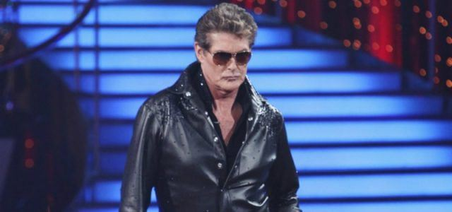 David Hasselhoff poses in a black leather jack and sunglasses on 'Dancing with the Stars.'
