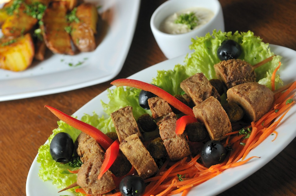 deep fried beef testicles with olives
