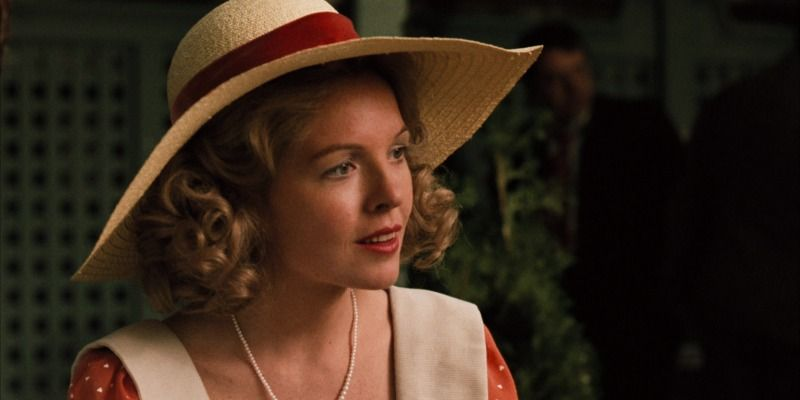 Diane Keaton is in a polka dot dress and hat in The Godfather.