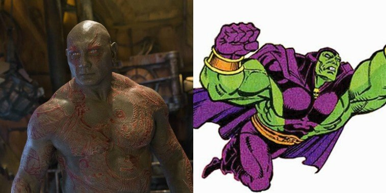 Dave Bautista as Drax in GOTG Vol. 2 and comic image of Drax the Destroyer in the comics