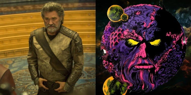 Kurt Russell as Ego in GOTG Vol. 2 with his hands on his belt and Ego the living pink and purple planet with angry yellow eyes in the comics