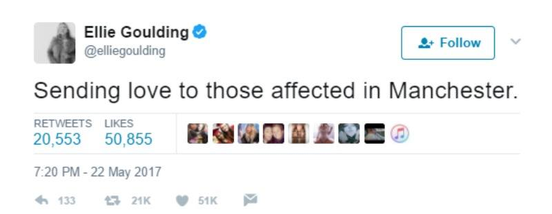 """This is a screen shot of Ellie Goulding's tweet, """"Sending love to those affected in Manchester."""""""