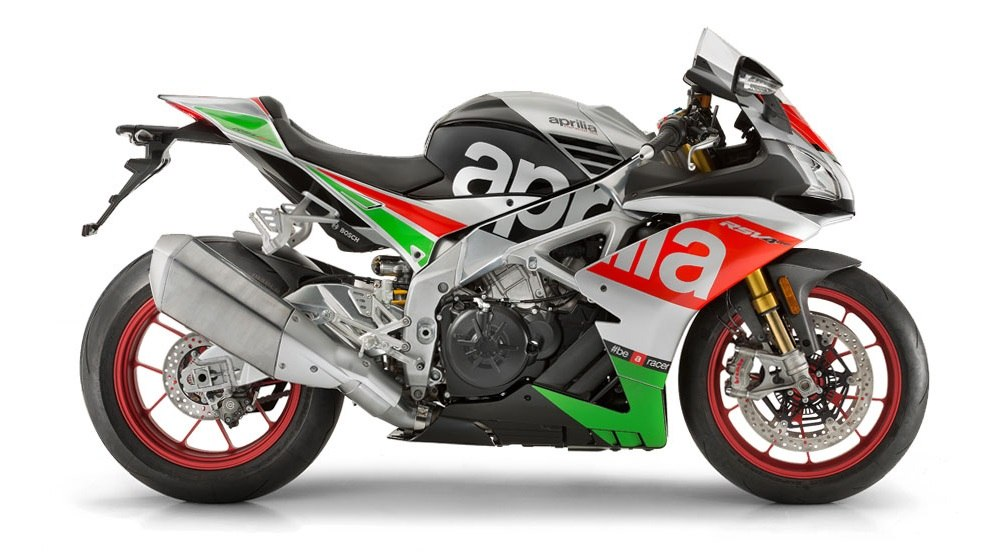 View of the Aprilia RSV4 RF in red, green and gray