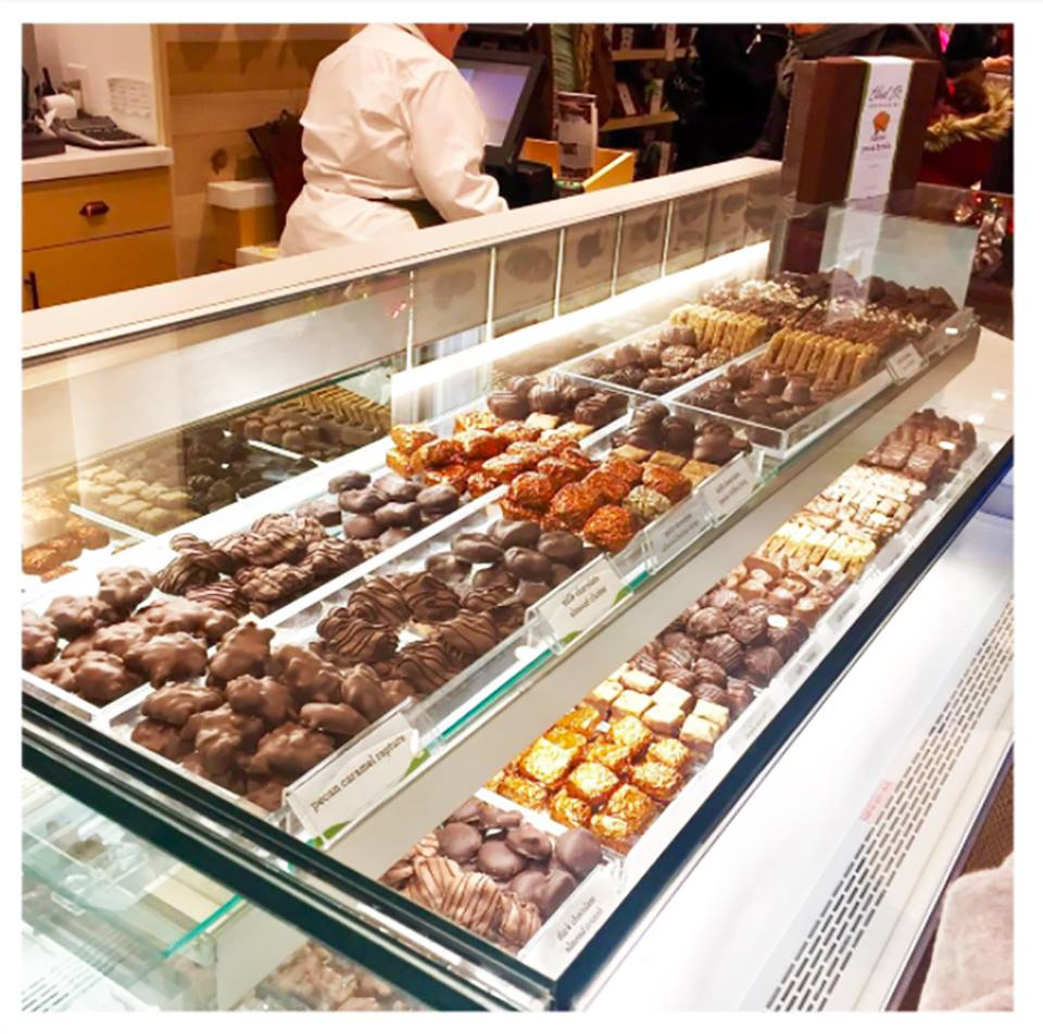 chocolates in a display