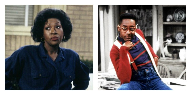 On the left is a picture of Jo Marie Payton rolling her eyes. On the right is a picture of Jaleel White posing as Steve Urkel.