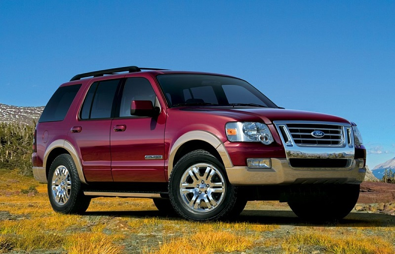 View of 2008 Ford Explorer in off-road setting