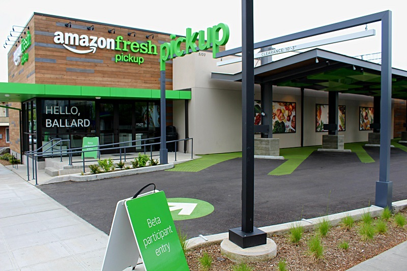 A view of the front of the Amazon Fresh pickup location in Ballard