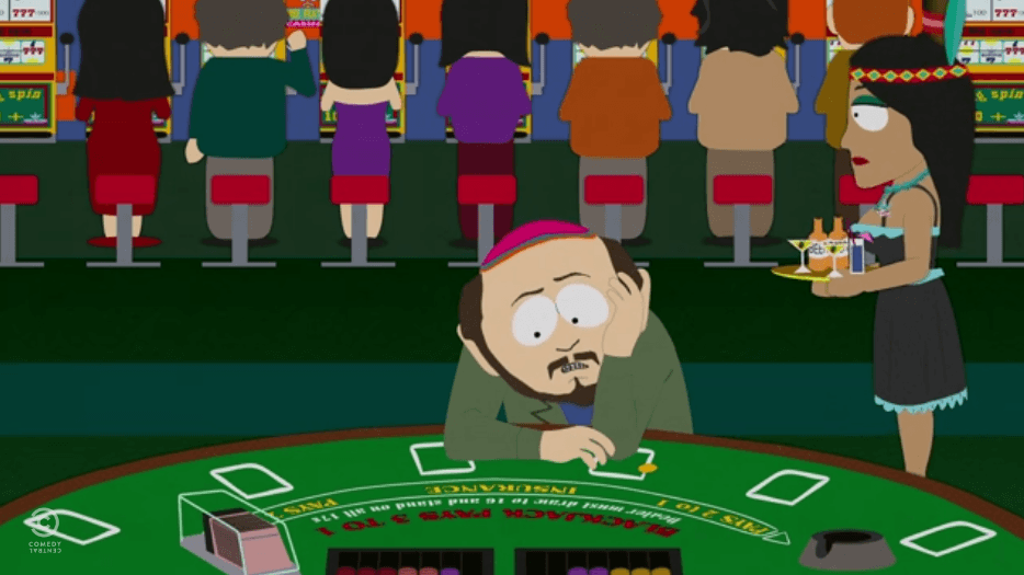 South Park's Gerald Broflovski deals with gambling addiction at a casino