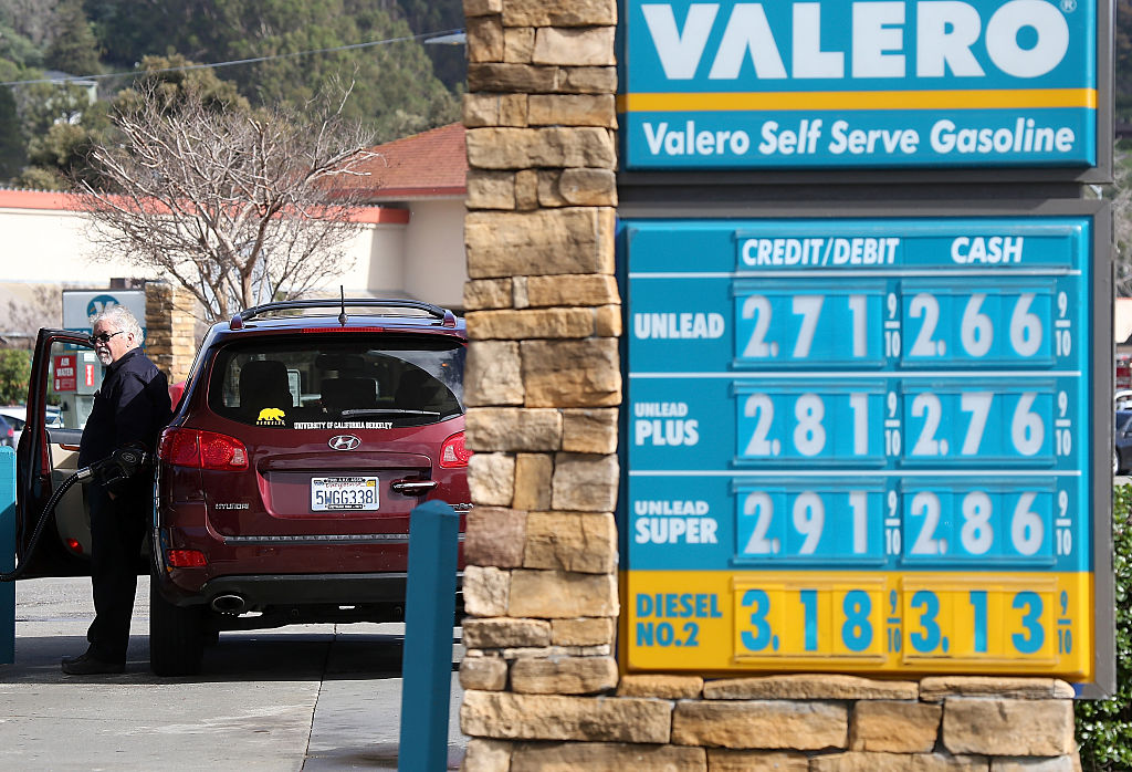 View of Valero gas station sign showing the day's prices