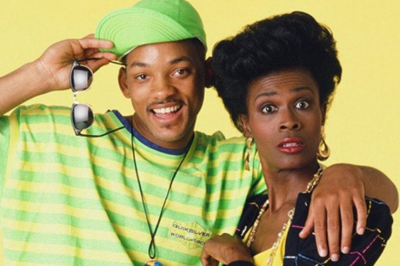 Will Smith holds sunglasses and puts his arm around Janet Hubert in The Fresh Prince of Bel-Air  