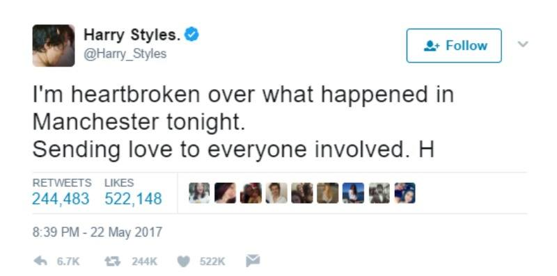"""This is a screen shot of Harry Styles tweeting """"I'm heartbroken over what happened in Manchester tonight. Sending love to everyone involved. H"""""""