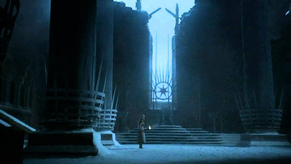 The Red Keep, with the ceiling broken open across a snowy wasteland, with Daenerys standing alone in the middle