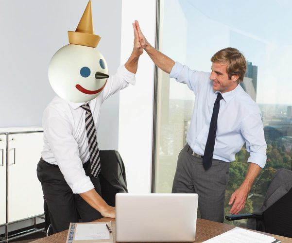 jack in the box mascot high-fiving person