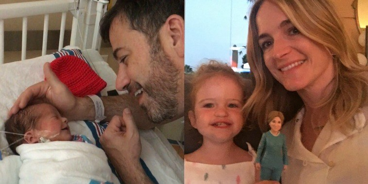 Jimmy Kimmel looking at his newborn son in the hospital, Molly McNearney and her daughter holding a figurine
