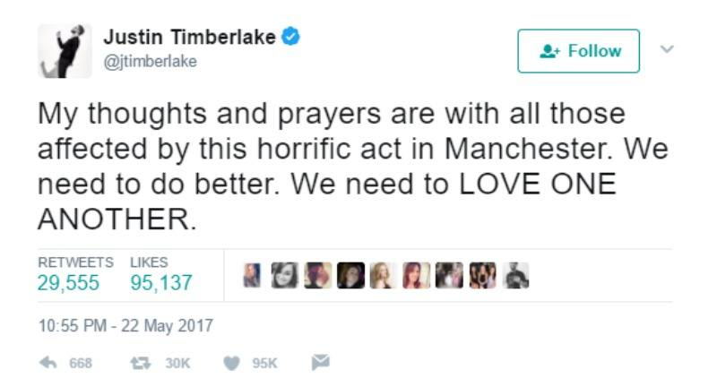 """This is a screen shot of Justin Timberlake tweeting """"My thoughts and prayers are with all those affected by this horrific act in Manchester. We need to do better. We need to LOVE ONE ANOTHER."""""""