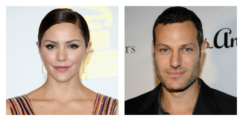 On the left is a closeup of Katharine McPhee's face as she poses on the red carpet. On the right is a closeup of Matthew Morris' face as he poses on the red carpet.