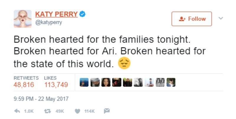 """This is a screen shot of Katy Perry tweeting, """"Broken hearted for the families tonight. Broken hearted for Ari. Broken hearted for the state of this world."""""""