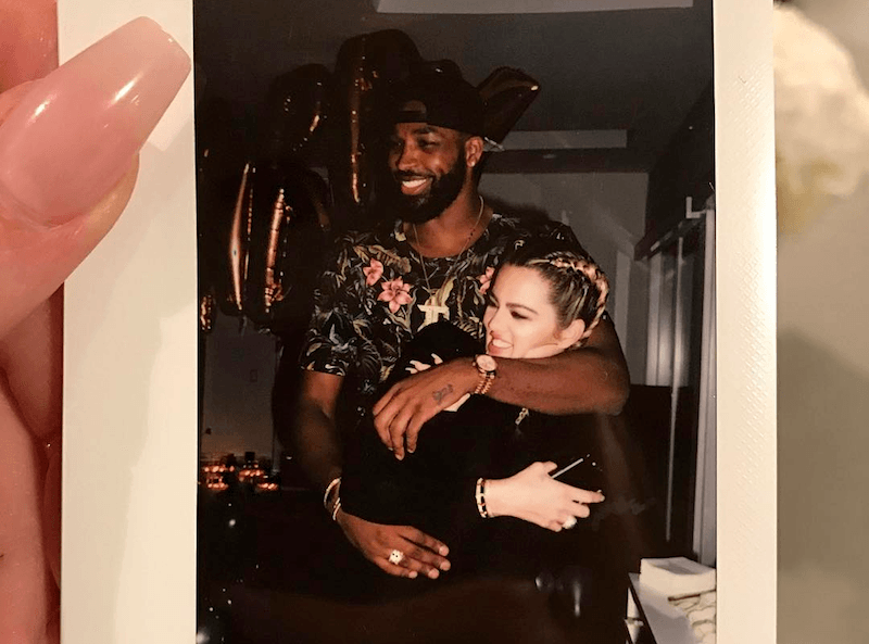 A polaroid of Khloe Kardashian and her boyfriend