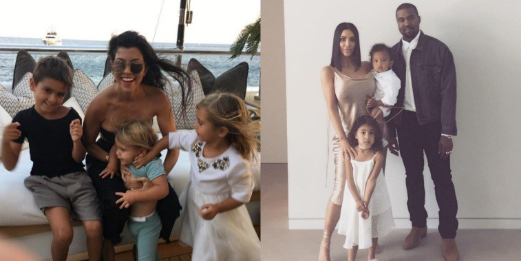 On the left, Kourtney Kardashian poses on a yacht with her kids and on the right, Kim Kardashian with husband Kanye West and kids posing in nice clothes