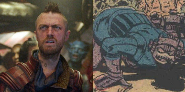 Kraglin in GOTG Vol. 2 and comic image of Kraglin in the comics