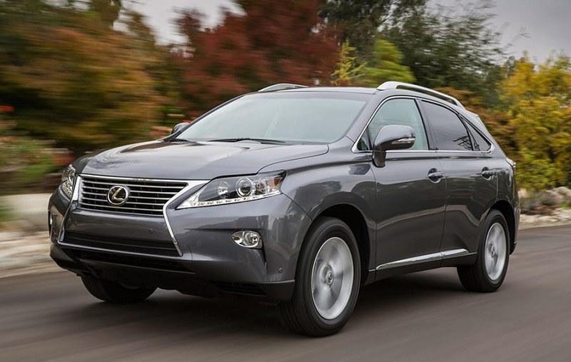 Road shot of gray Lexus RX350 SUV