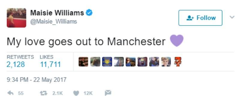 "Maisie Williams tweets ""My love goes out to Manchester."""