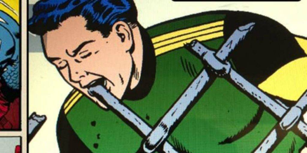 Matter-Eater Lad about to consume an iron rod