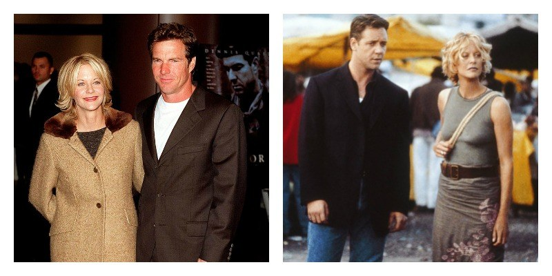 Meg Ryan and Dennis Quaid, and Meg Ryan and Russell Crowe