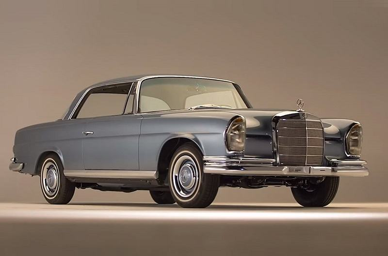 Studio shot of '66 Mercedes 250SE Coupe in blue