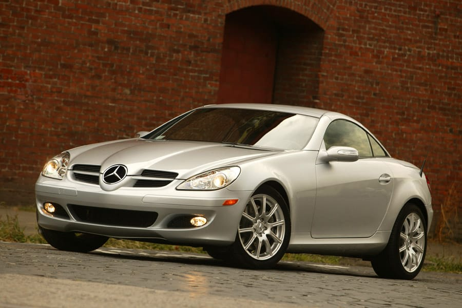 View of 2008 Mercedes-Benz SLK sports car in silver