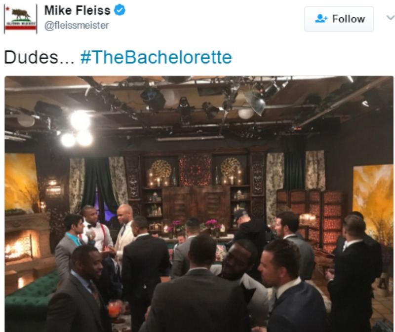 This is a tweet of a picture of the men on the first night of The Bachelorette.