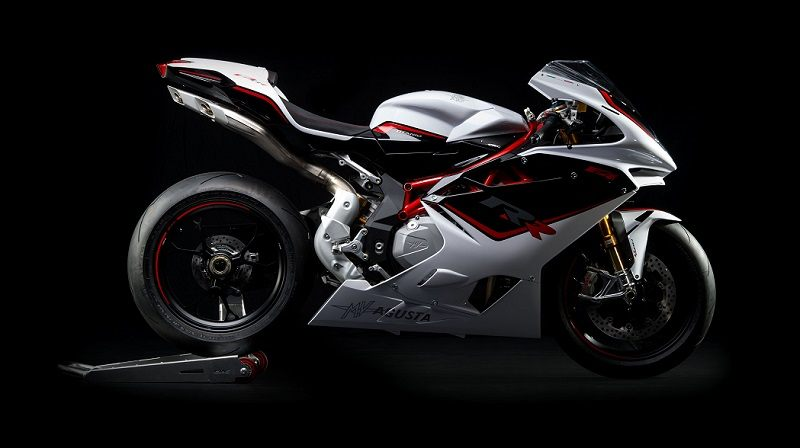 Side view of MV Agusta F4 RR in gray with black and red trim