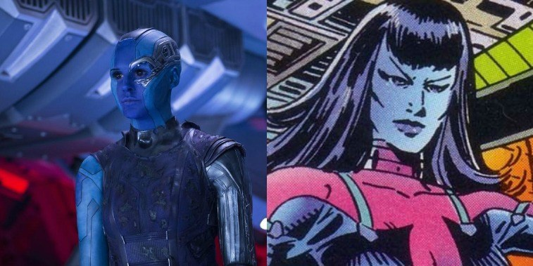 Karen Gillian as Nebula in GOTG Vol. 2 and Nebula in the comics