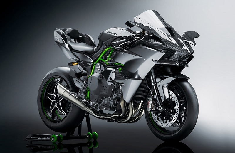 Studio shot of Kawa Ninja H2R superbike