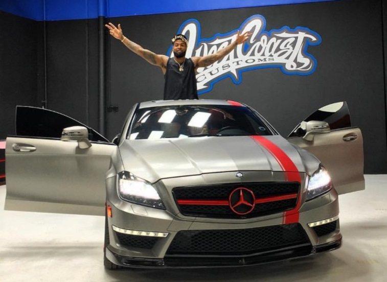 Odell Beckham Jr. sits atop customized Mercedes CLS63