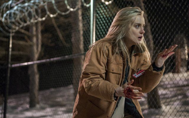 Piper standing outside in the snow beside a barbed-wire fence, her hands covered in blood