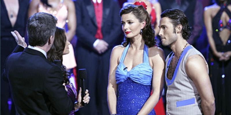 Paulina Porizkova and Alec Mazo look upset after their dance.